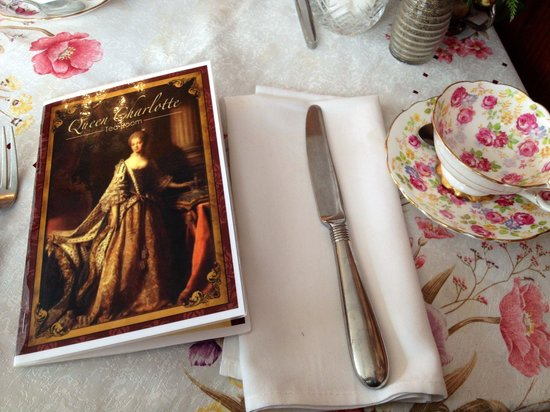 Queen Charlotte Tea Room : Menu and tea cups