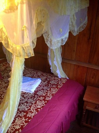 Hostal La Tranquilidad: The bed with the mosquito net
