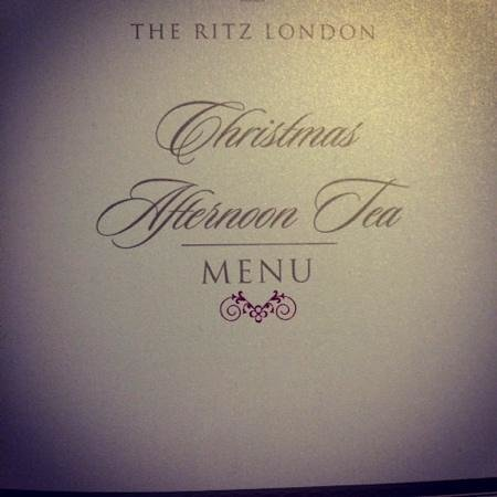 The Ritz London: menu