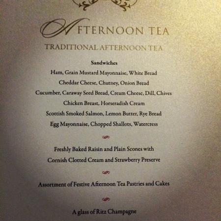The Ritz London: Menu