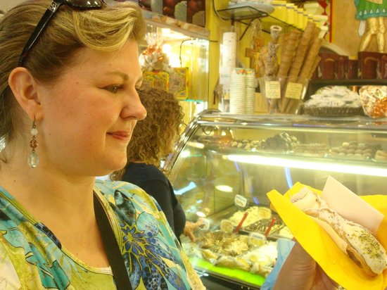 RomeInLimo Tours & Excursions: About to enjoy a REAL cannoli from Taormina