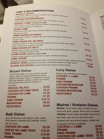 Curry Palace : A page from the new menu (dec 2013)