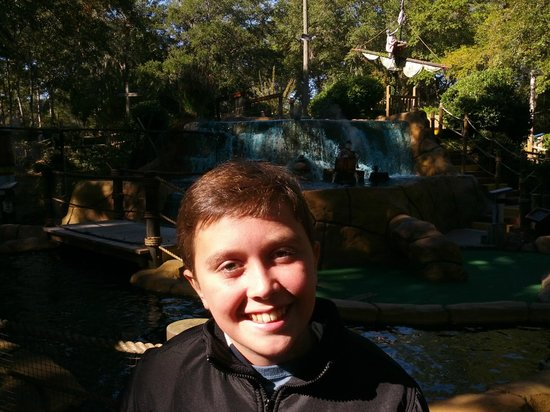 Pirate's Island Adventure Golf: Son Dylan even stood the cold temps to play on this beautiful November day!