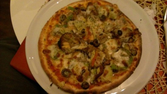 Pizzeria Mandala: Pizza vegeterienne. 45dh