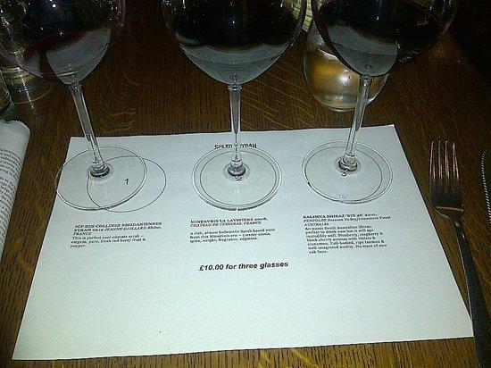 Vinoteca Marylebone: the syrah flight with tasting notes