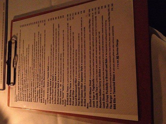 Taste Bar & Grill: Dinner menu