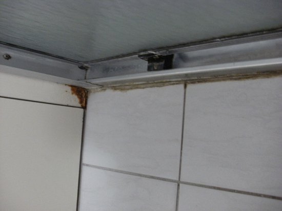 Adelaide Royal Coach : Shower base sealant filthy & rusty door frame