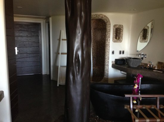 Hotel Hangaroa Eco Village & Spa : Details as the darkened logs in rooms and mosaic shower