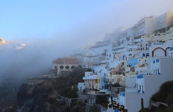 Athina Luxury Suites : Morning fog - view from balcony