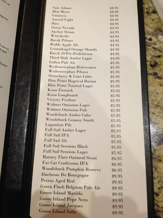 Hilton Ocala: Beer List - very nice, but no drafts.
