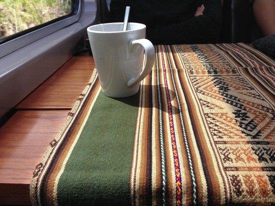 PeruRail - Vistadome: Coca tea on the train in
