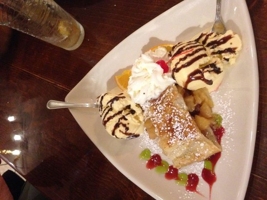 Old Castle Tavern: Warm crispy apple strudel with vanilla ice cream like grandma used to make.