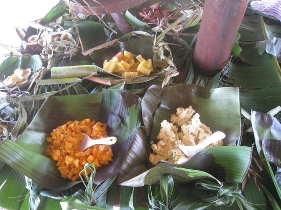 Aitutaki Punarei Culture Day Tour: Food prepared for traditional feast