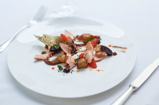 The Square: Cold salad with hot-smoked salmon, date puree, aubergine and grapefruit essence