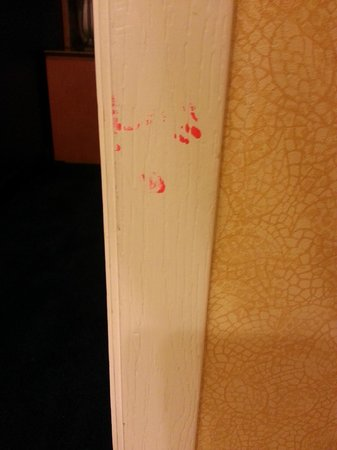 Suites at Northshore: Stains on door frame
