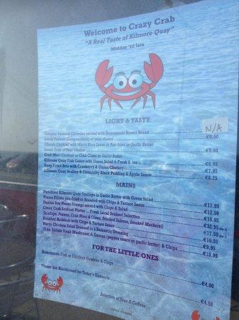Kilmore, Ireland: Crazy Crab Menu