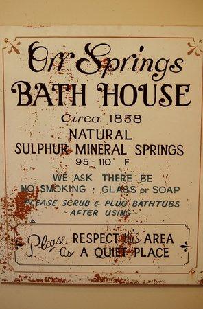 Orr Hot Springs: bath house sign