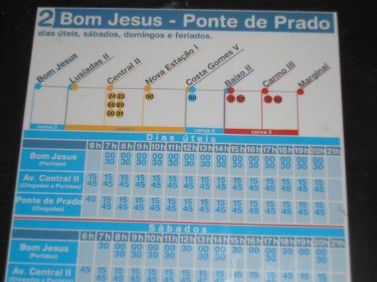 Bom Jesus do Monte: ORARI BUS