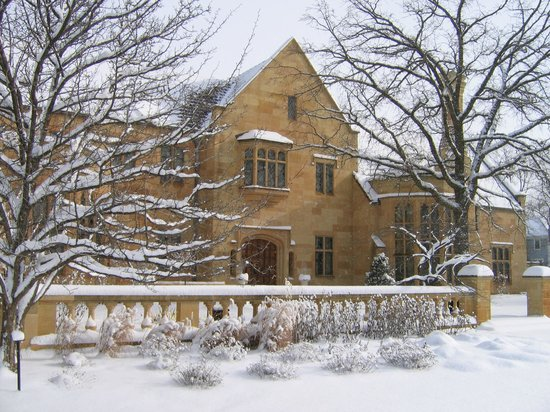 Paine Art Center and Gardens: Paine mansion in snow