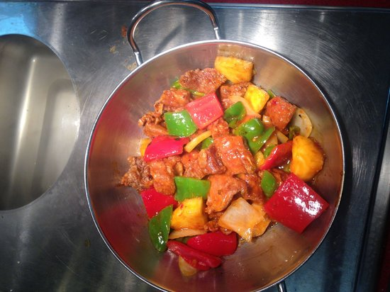 Golden Corral: Sweet and sour pork