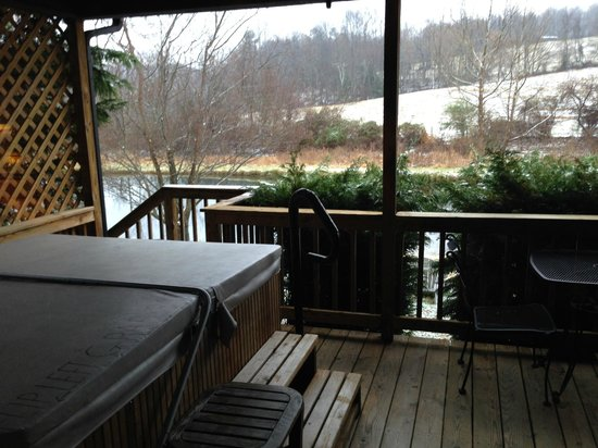 Alpine Hideaway: Deck/hot tub of pond view