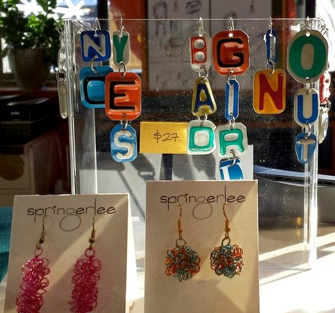 Fiddlehead at Four Corners: Recycle license plate earrings