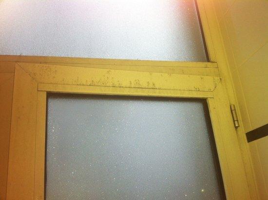 Steigenberger Frankfurter Hof: Mold along window in bathroom rm 445
