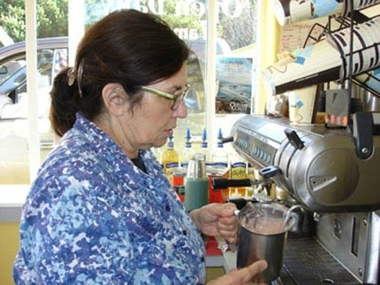 Seal Rock Espresso & Bakery: Many, many espresso, latte, mocha, frappe drinks. Also fruit smoothies, chai. All organic.