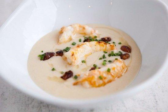 Corin on Mainstreet: White bean velouté, chorizo & langoustines