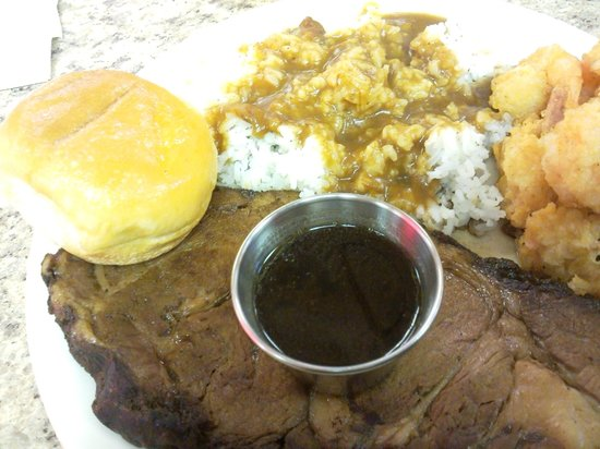 Ball & Que: Prime Rib w/ fried shrimp. Served with rice and gravy along with fries.