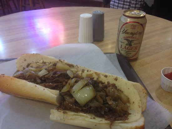 Jim's Steaks South St. : Cheesesteak with Provolone and onions.. And a lager!!