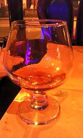 Tikka Tikka: Sippin on 'yak. Complimentary cognac.