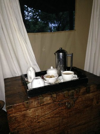 Siwandu: Coffee service at our tents at whatever time we liked each morning.