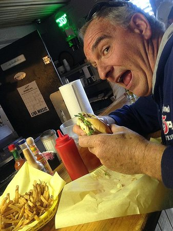 Golden Light Cafe & Cantina: Preparing to chow down on my 'Shroom Burger.  MMMMM!