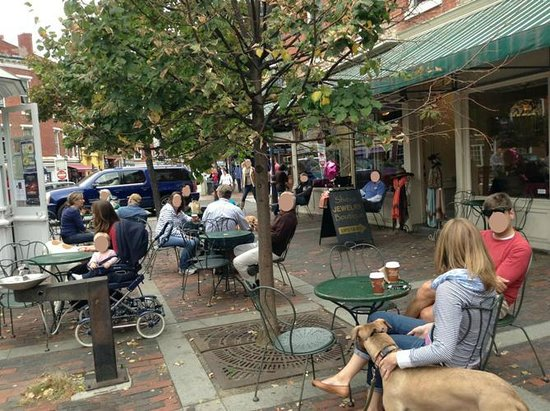 Breaking New Grounds: On a nice day, it is great to sit outside this wonderful coffee shop