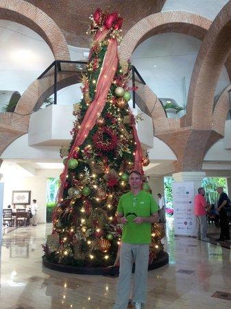 Velas Vallarta: Lobby Christmas tree and a cute guy