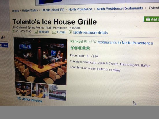 Tolento's Ice House Grille : 12-16-13