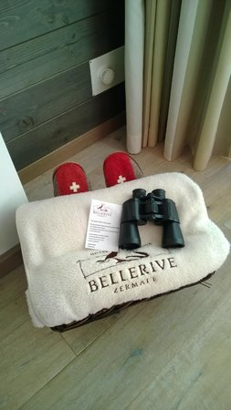 BELLERIVE - CHIC HIDEAWAY: Nice touch, blanket, slippers & binoculars for viewing Matterhorn from the room's balcony