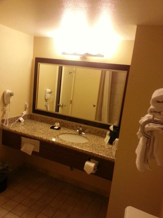 Boulder Station Hotel and Casino: Clean basic bathroom w/ hair dryer, soaps, shampoo