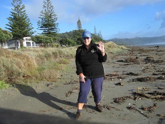 storm-strewn Ohope Beach.. and me.