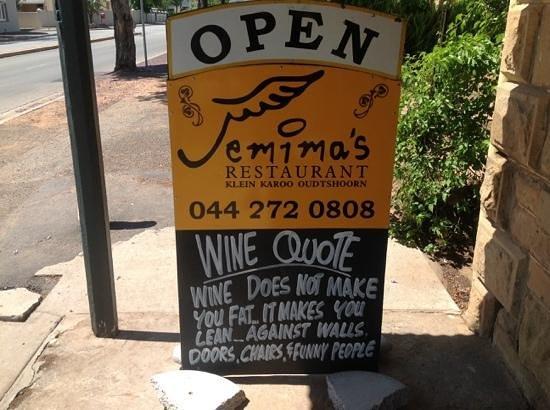 Jemima's Restaurant: Wine quote from Jemima's.
