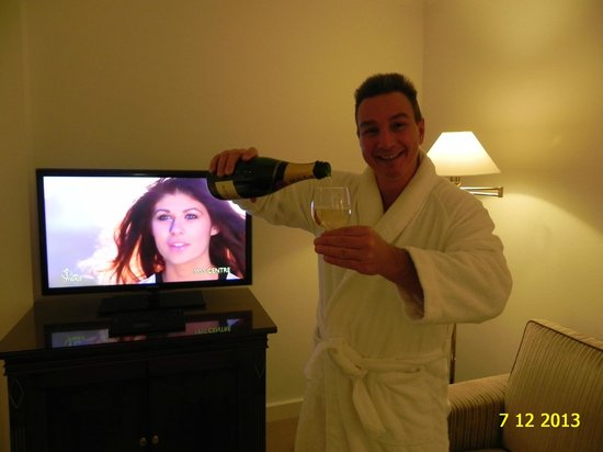 ENJOYING CHAMPAIN IN OUR DELUXE ROOM 416, HOTEL BRISTOL, DECEMBER 2013.