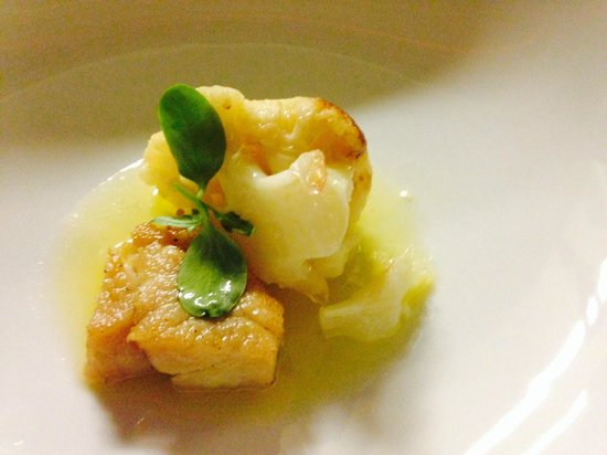 Ghent Marriott Restaurant: Gerecht met kalfszwezerik en bloemkool