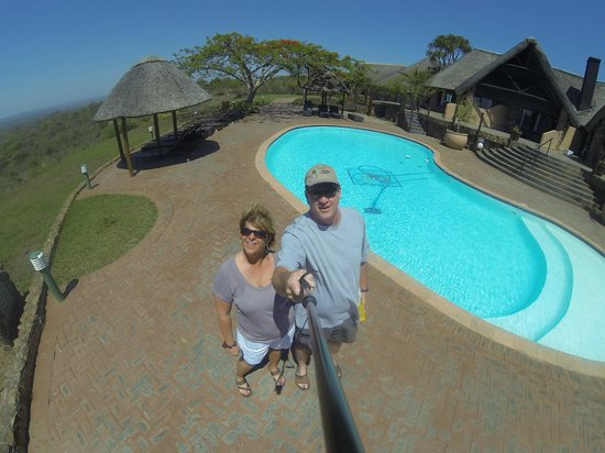 Zulu Nyala Game Lodge : Beautiful view of the bush, the pool and our room on the other side of the pool.