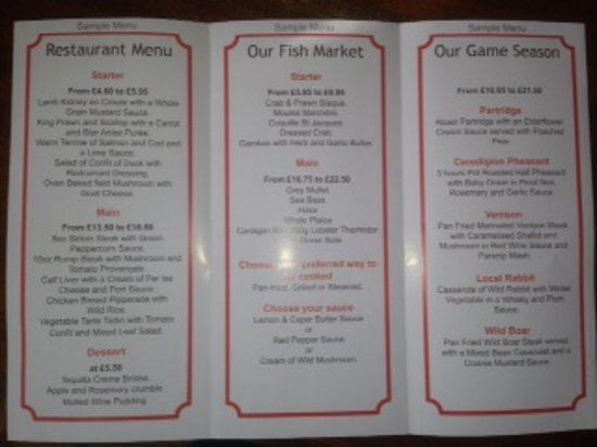 Sample Menu  Picture Of Restaurant  Aberaeron  Tripadvisor