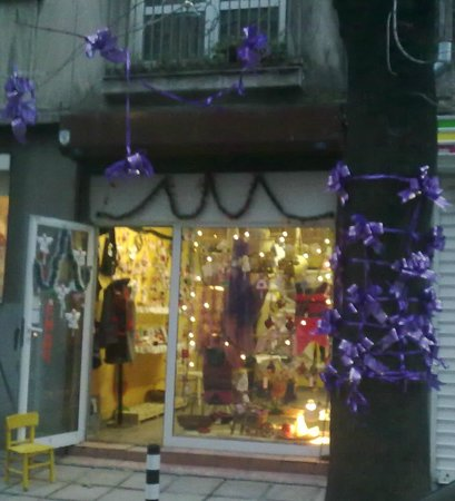 Art Shop Hand Made: The magic tree in front of my gallery looks like a Christmas gift