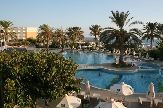 Constantinou Bros Athena Beach Hotel: Hotel pools from the bar.