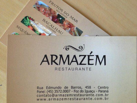Armazem Restaurante: Cartão Endereço
