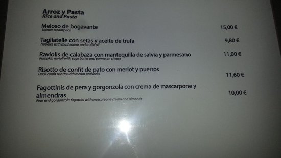 Las Lunas Soul Kitchen: A part of the menu - recipe I would like to find :p