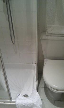 Prince Albert Lyon Bercy : Salle d'eau exigus, et panneau de douche manquant, l'autre est branlant, joints silicones mal fi